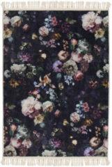 Donkerblauwe Essenza Fleur vloerkleed met bloemendessin 60 x 90 cm