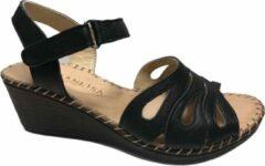 Manlisa dames velcro sandaal S207-7046 zwart mt 36