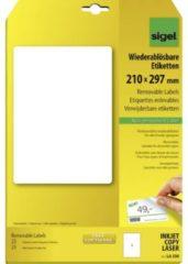 Sigel LA230 Etiketten 210 x 297 mm Papier Wit 25 stuk(s) Weer verwijderbaar Universele etiketten 25 vel DIN A4
