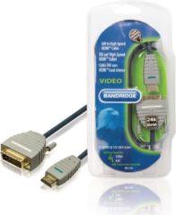 Blauwe Bandridge DVI-D Dual Link 24+1pins - HDMI kabel met vergulde contacten - 3 meter