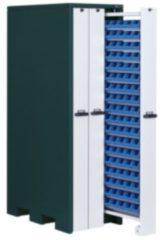 APFEL Vertikalschrank HxBxT 2140x660x1050 mm mit 54 Lagerwannen RAL 7016/9002
