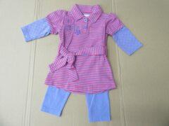 Roze Dirkje , Kleedje+ legging Bovenkledij Baby Jurk Maat 74