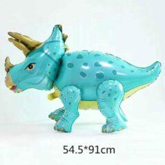 Ballon dinosaurus triceratops , blauw/groen 54x91cm kindercrea