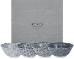 Witte Tokyo Design Studio Nippon Black Set van 4 Kommen Ø 15,2 cm in fraaie Geschenkdoos