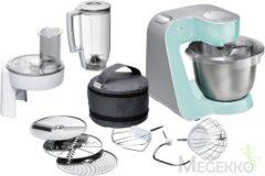 Groene Bosch Keukenmachine CreationLine MUM58020, 3,9 liter, mint-turquoise / zilverkleur, 1000 Watt
