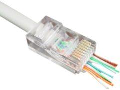 Transparante Kabeldirect Cablexpert RJ45 krimp connector met doorsteekmontage voor CAT6 UTP kabel - 100 stuks