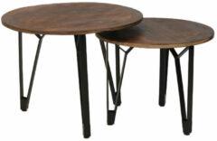 Bruine Bronx71 Industriële salontafel set Jake mangohout (2 stuks)