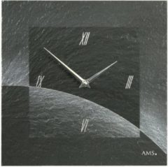 Grijze AMS Wandklok Leisteen 9519