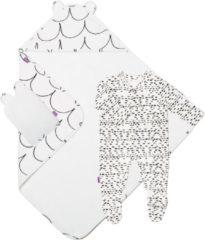 Witte Snuz Baby bad en bed set - Wave mono - handdoek en slaappakje