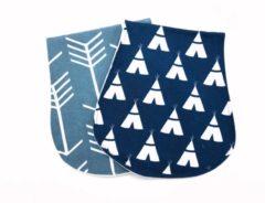 Blauwe MijnNami Spuugdoeken – Pijlen – Biologisch Katoen en Badstof - Spuugdoekje