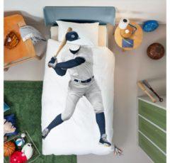 Witte Snurk katoenen kinderdekbedovertrek Baseball Player