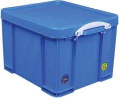 Really Useful Box opbergdoos 35 liter, neon blauw met witte handvaten
