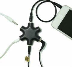 WiseGoods Premium Audio Splitter - Aux Splitter - Koptelefoon Splitter - 6 Ingangen - 3.5mm - Zwart