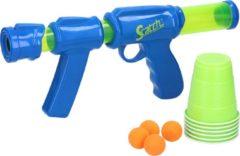 Blauwe Scatch Scratch Airpopper - Ballenschieter - 36-50 cm - Incl 10 Ballen en 6 Cups - Schiet 8 meter ver