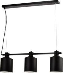 Zwarte QUVIO Hanglamp modern / Plafondlamp / Sfeerlamp / Leeslamp / Eettafellamp / Verlichting / Slaapkamer lamp / Slaapkamer verlichting / Keukenverlichting / Keukenlamp - 3 lichtpunten met ronde kappen - 15,5 x 90 x 26 cm (lxbxh)