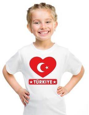 Afbeelding van Shoppartners Turkije kinder t-shirt met Turkse vlag in hart wit jongens en meisjes L (146-152)