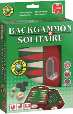 Afbeelding van Groene Jumbo Backgammon en Solitaire Reisspel