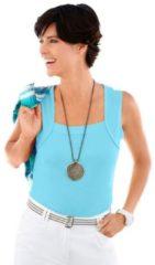 Blauwe Shirt-top met gepaspeleerde hals