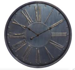 Merkloos / Sans marque Wandklok XXL diameter 77cm blauw goudkleurige Romeinse cijfers