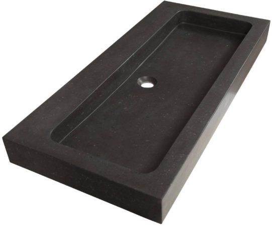 Afbeelding van Saniclass Black Spirit meubelwastafel 100cm 1 wasbak 0 kraangaten natuursteen zwart 2382