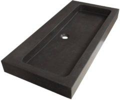 Saniclass Black Spirit meubelwastafel 100cm 1 wasbak 0 kraangaten natuursteen zwart 2382