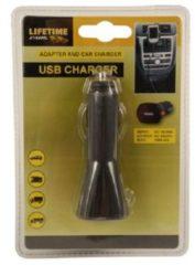 Zwarte Lifetime Cars autolader USB 12/24 Volt 1 Ampère kunststof zwart