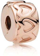 Pandora Rose 781978 Clip-Stopper Bedel Row of Hearts zilver rosekleurig