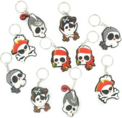 Huismerk 10 Stuks - Doodskop Piraten sleutelhangers - Piraat sleutelhanger - Uitdeelcadeautjes - Traktatie voor kinderen - Jongens
