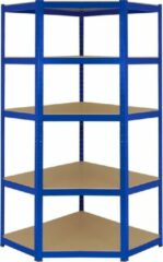 Blauwe Monster Racking T-Rax Corner Storage Shelf Unit, Blue, 90cm Wide