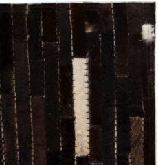 VidaXL Vloerkleed streep patchwork 80x150 cm echt leer zwart/wit