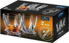 Bohemia royal crystal GRAND QUADRO kristallen whisky glazen - set 2 stuks
