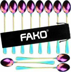 Fako Bijoux® - 12 Lange Lepels - Latte Macchiato - Longdrink - Cocktail - Dessert - IJs - Koffie - Regenboog - 12 Stuks - Bewaarzakje