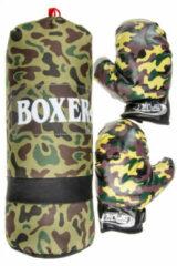 Groene LG-Imports bokszak met handschoenen junior camouflage print