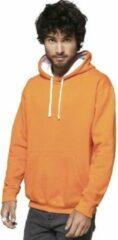 Gildan Oranje/witte sweater/trui hoodie voor heren - Holland feest kleding - Supporters/fan artikelen S (36/48)