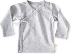 Little Label - baby - overslagshirtje - grijs - maat 50 - bio-katoen