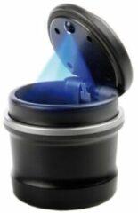 Zwarte Acr Auto Asbak met Ledverlichting - Asbak voor in de Bekerhouder - Blauwe Led Verlichting