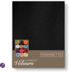 Zwarte Romanette Velours hoeslaken - Zwart - Lits-jumeaux (160/180/200x200/220 cm)