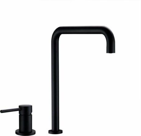 Afbeelding van Blackline TS Premium keuken mengkraan- 2-gats- Opbouw-Mat zwart- Design- Landelijk -Complete set- Keukenkraan