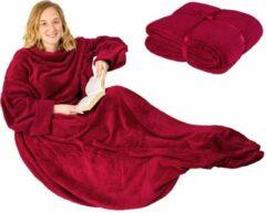 TecTake - Tv-deken met mouwen 150 x 160 cm rood - 402427