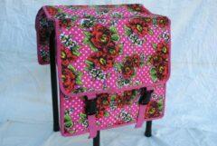 New Looxs dubbele fietstas roze met rozen