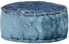 VidaXL Poef rond 40x20 cm fluweel blauw