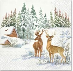 Tete à Tete Deers on Snow papieren servetten