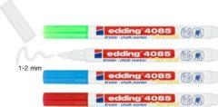 Krijtstift edding 4085 - 4 kleuren krijtmarkers: rood, wit, licht-blauw, neon-groen - ronde punt, 1-2mm