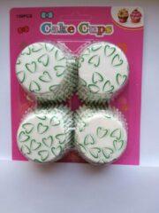 Het Borstelhuis vof Cupcake Vormpjes Papier - Muffin Vormpjes - 100 Stuks - Diameter 5 cm - Wit met Groene Hartjes
