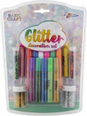 17-delige Glitter decoratie set | knutselen - glitterlijm - glitterpoeder | Grafix
