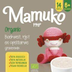 Mamuko biologische pap 6+ mnd. - boekweit, rijst en spelttarwe granenmix (10 x 240 gr.)