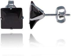 Zilveren LGT JWLS LGT Jewels Stud oorbellen Edelstaal Classic Black 8mm