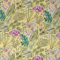 Blauwe Acrisol Bouquet Yellow 327 gebloemd stof per meter buitenstoffen, tuinkussens, palletkussens