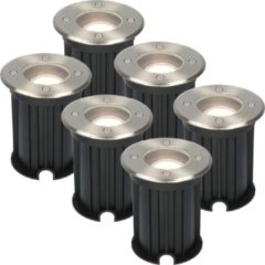 Roestvrijstalen HOFTRONIC™ 6x Maisy dimbare LED grondspot rond RVS 5W 4000K IP67 straal waterdicht 3 jaar garantie
