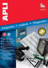 Apli Zilverkleurige etiketten formaat 457 x 212 mm (b x h) 960 stuks 48 per blad